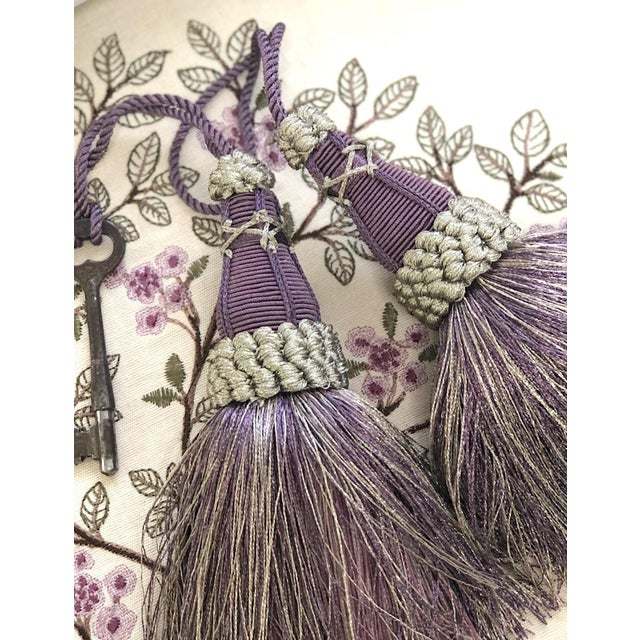 Key Tassels in Amethyst and Gray With Ruche Trim - a Pair For Sale - Image 9 of 12