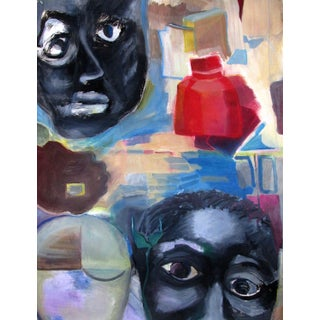 """""""Black Faces"""" Oil Painting on Paper by Tamara Wasserman For Sale"""