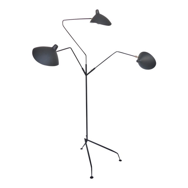 Serge Mouille Style Three Arm Floor Lamp With European Electrical Plug For Sale