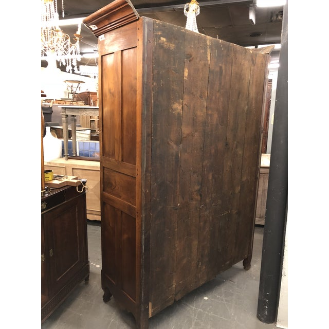 Brown 19th Century Louis XV Provincial Walnut Armoire For Sale - Image 8 of 9