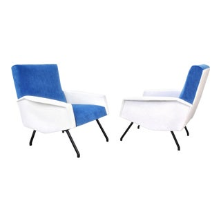 French Blue and White Velvet Lounge Chairs - a Pair For Sale