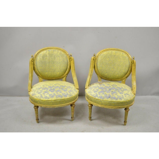 Vintage French Louis XVI Style Low Petite Boudoir Small Hiprest Chairs - a Pair For Sale - Image 13 of 13