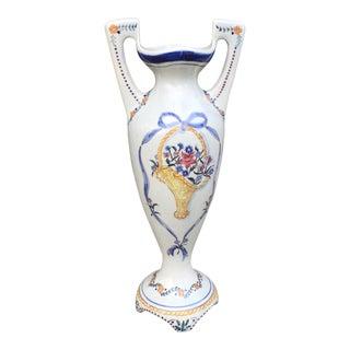 Vintage Portuguese Pottery Urn Chalice Vase For Sale