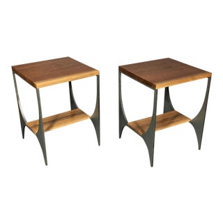 "Contemporary Richard Velloso ""Curves of Grace"" Black Walnut & Steel Side Tables - a Pair For Sale"