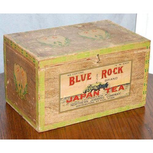 Asian Blue Rock Japan Tea Box For Sale - Image 3 of 8