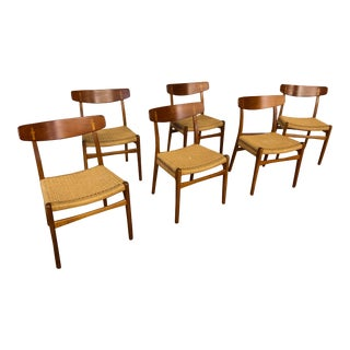 Authentic 1959 Hans J. Wegner Ch23 Dining Chairs - Set of 6 For Sale