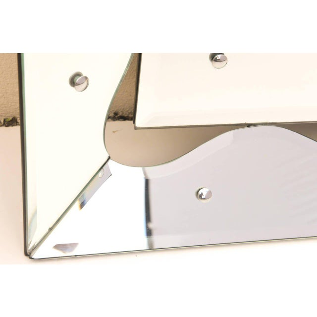 Chrome 1950s Hollywood Regency Monumental Scalloped Horizontal Mirror For Sale - Image 7 of 9