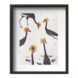 """Black Crowned Crane"" Contemporary Still Life Drawing by Tang Wen Ching, Framed For Sale"