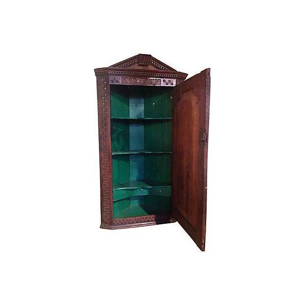 1709 Carved English Corner Cabinet - Image 2 of 4