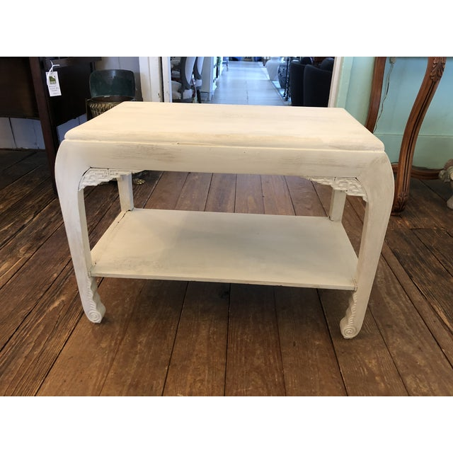 Chinese Whitewashed Painted Rectangular Low Side Table For Sale - Image 13 of 13