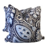"""Image of Thibaut """"Cochin"""" in Navy 22"""" Pillows-A Pair For Sale"""