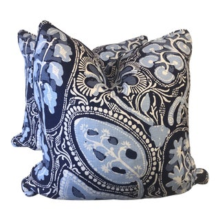 """Thibaut """"Cochin"""" in Navy 22"""" Pillows-A Pair For Sale"""