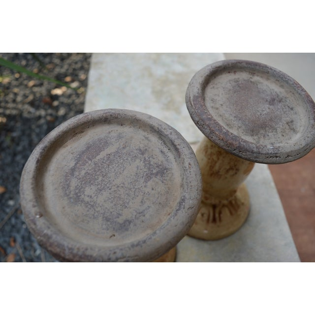 French Country Crackled Glaze Pillar Candle Holders - a Pair For Sale - Image 3 of 4