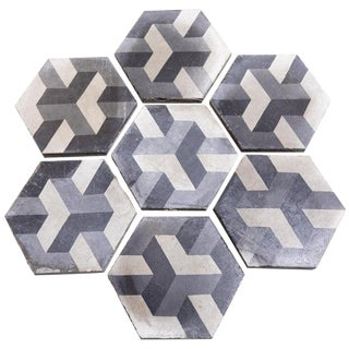 Reclaimed French Art Deco Black, Gray, White Floor Tiles, 225 Square Feet Lot - 233 Pieces For Sale