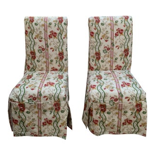 French Country Nobilis Fabric Slipcover Parsons Dining Chairs- A Pair For Sale