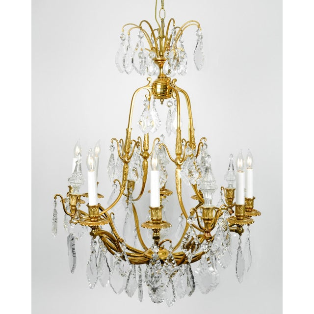 1920s Antique French Cut Crystal Eight Arm Chandelier For Sale - Image 4 of 11