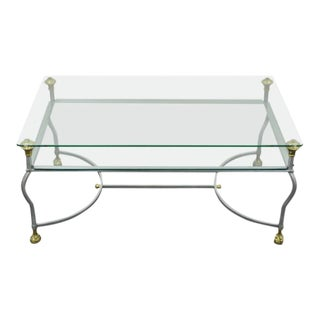 Italian Steel & Brass Coffee Table For Sale
