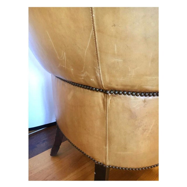 Ralph Lauren Signed Large Leather Nailhead Wingback Chair For Sale - Image 11 of 11