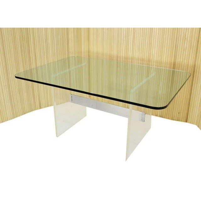 Nice glass and lucite base mid century modern conference dining writing table desk.