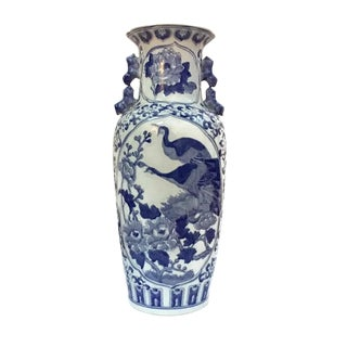 Vintage Chinese Porcelain Vase Chinoiserie Umbrella Stand Peacocks & Pheasants 24 Inch