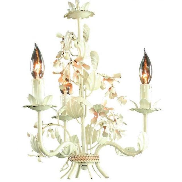 Vintage French 3-Arm Metal Floral Chandelier - Image 2 of 3