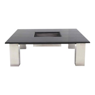 Modern Square Granite Top Coffee Table With Center Planter For Sale