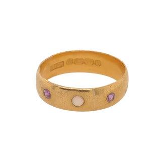 Victorian 22k Gold Opal Amethyst Birmingham England Ring 1890-91 For Sale