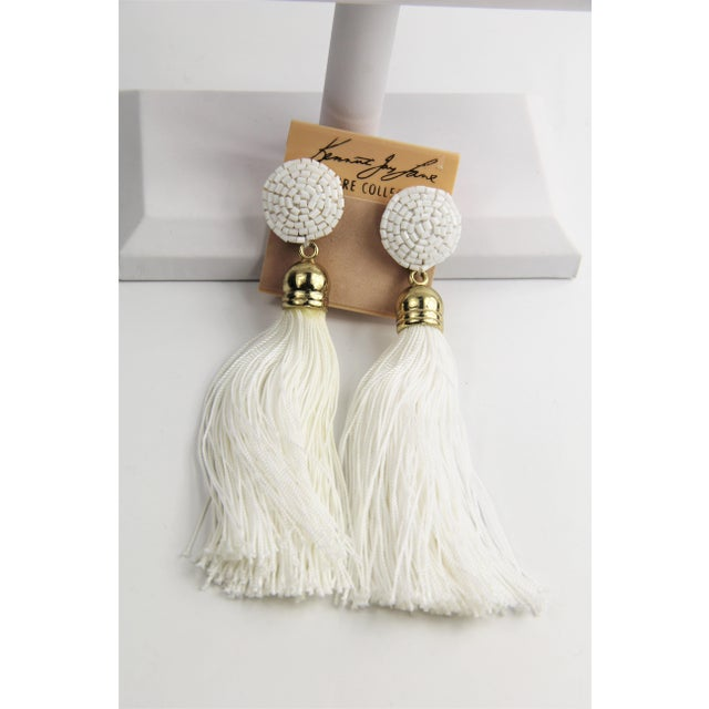 Contemporary Kjl Kenneth Jay Lane Couture Collection Shoulder Duster Tassel Earrings For Sale - Image 3 of 3