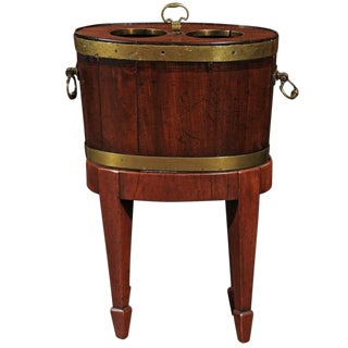 Mid-19th Century English Mahogany and Brass Wine Cooler with Custom Wood Stand