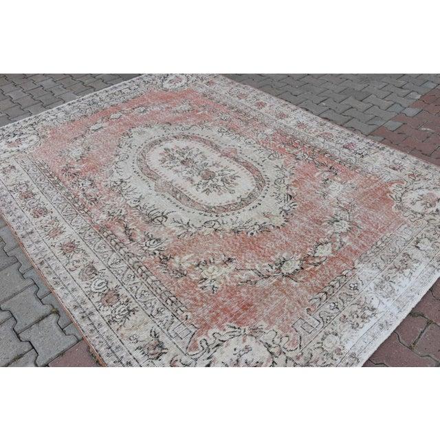 Nomadic Antique Handmade Muted Anatolian Faded Salmon Carpet - 6′9″ × 9′2″ - Image 8 of 10