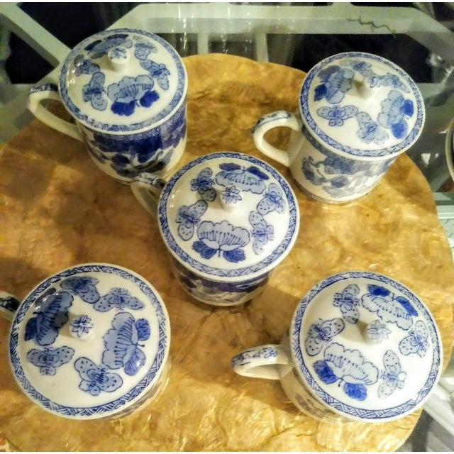 15 Piece Blue and White Chinoiserie Greek Key Lidded Coffee Mugs and Saucers For Sale In West Palm - Image 6 of 9