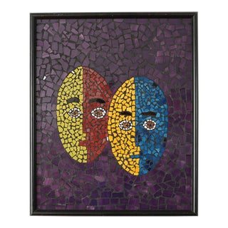 Mid-Century Modern Abstract Tile Mosaic Two Faces Painting For Sale