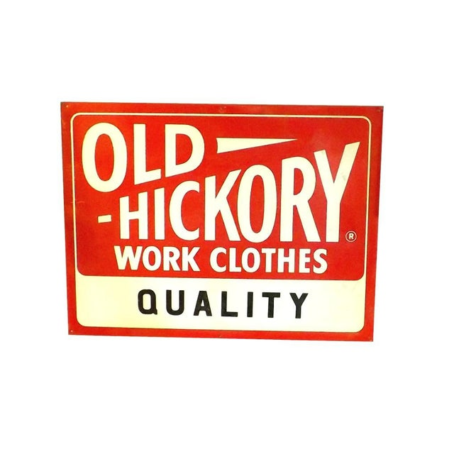 Red 1950's Vintage Nos Old Hickory Workwear Sign For Sale - Image 8 of 8