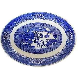 Asian Motif Blue & White Platter For Sale