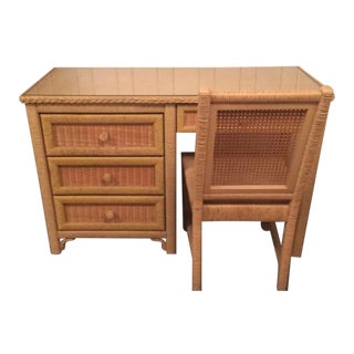 Henry Link Glass-Top Rattan Desk and Chair For Sale