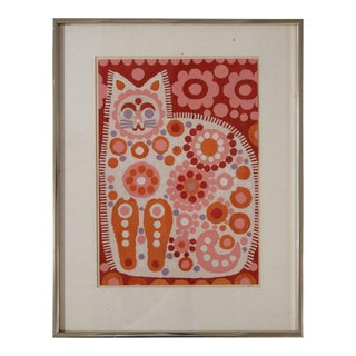 Bright Patchwork Collage in a Cat Motif For Sale