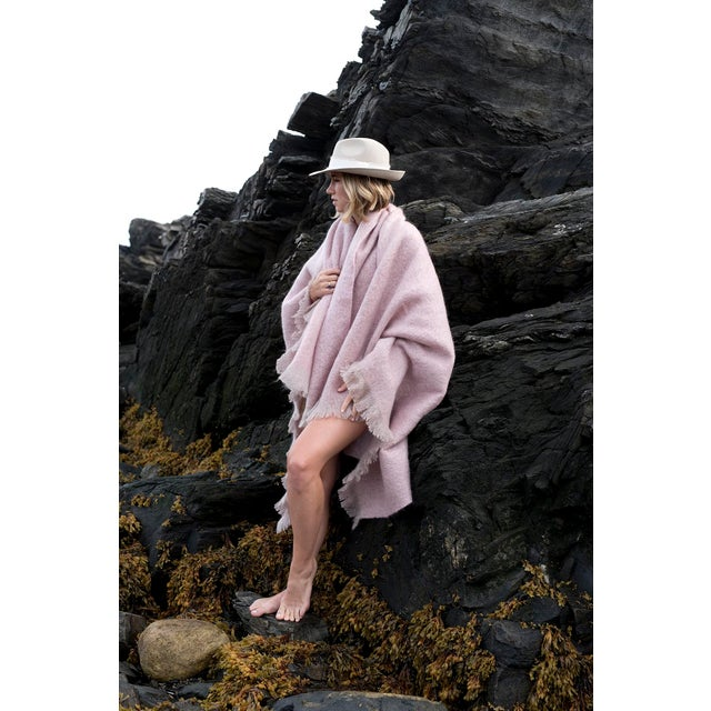 Contemporary Contemporary Soft Rose Luxe Mohair Throw For Sale - Image 3 of 4