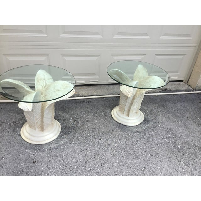 Wood Vintage Glass Top Tables With Floral Style Bases - a Pair For Sale - Image 7 of 9