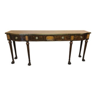 Theodore Alexander Brooks Console With Brass Inlay and Greek Key For Sale