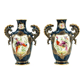 Vintage Pair English Porcelain Decorative Pieces For Sale
