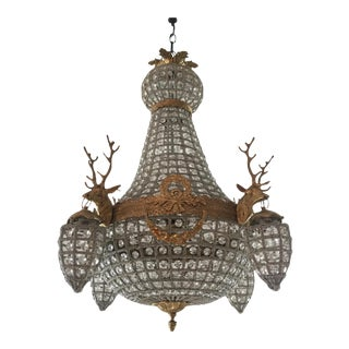 Empire Stag Head Chandeliers - A Pair