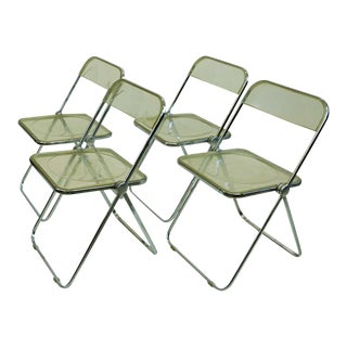 Italian 1960s Chrome and Lucite Plia Folding Chairs by G. Piretti for Castelli - Set of 4 For Sale