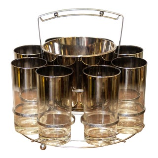 Vintage Silver Glasses and Ice Bucket Caddy Set - 9 Piece Set For Sale