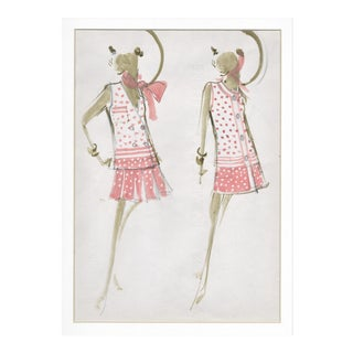 Pair-Matted Original Vintage Mid-Century Fashion Drawings-House of Balmain For Sale