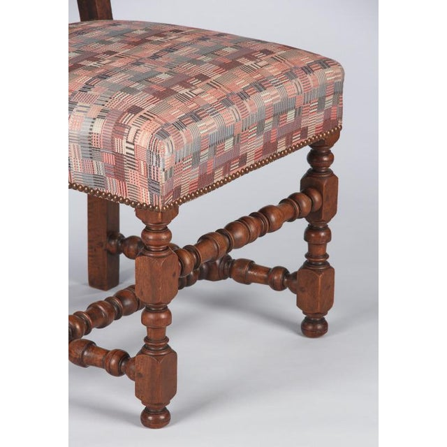 Mauve 1920s Louis XIII Style Upholstered Walnut Chairs - Set of 6 For Sale - Image 8 of 13