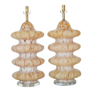 Carlo Nason Four-Tiered Murano Lamps Tangerine For Sale