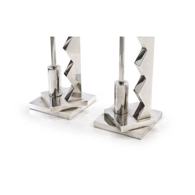 Pair of Ettore Sottsass Silver Candlesticks for Swid Powell and Reed and Barton For Sale In Kansas City - Image 6 of 7