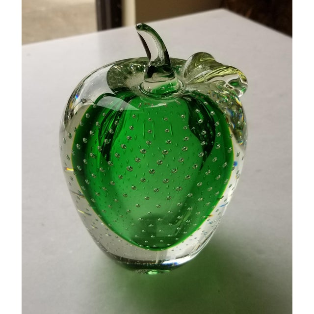 Glass Vintage Green Murano Art Glass Apple For Sale - Image 7 of 7