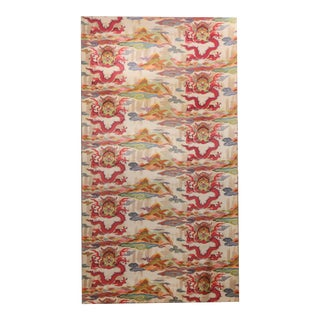 French Mid-Century Colorful Chinoiserie Fabric Panel