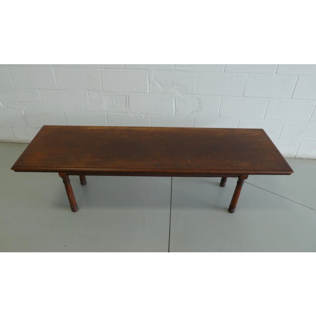 Rustic Antique Wood Table With Carved Floral Motif For Sale - Image 3 of 13